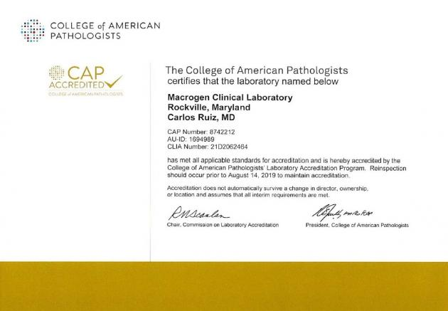 Macrogen reaffirms diagnostic sequencing capability with CAP certification