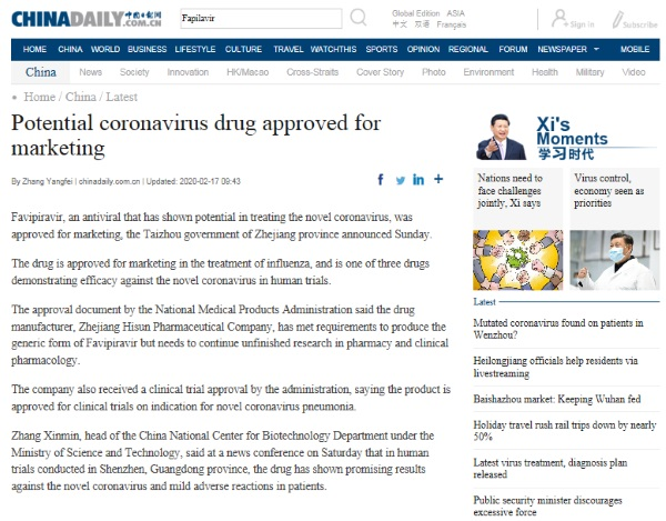 'Favipiravir not approved as new coronavirus drug yet'